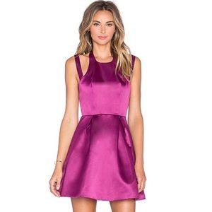 Lovers & Friends Pink Satin Halter Fit Flare Dress
